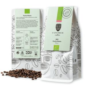 Explorer Coffee Pacha Mama, sortenreiner Arabica Bio Kaffee Bio Pacha Mama aus Peru von Kleinbauern, Kakao und Mandel Aromen, ausbalancierte, milde Säure, guter Körper