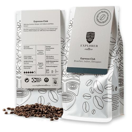 Explorer Coffee Espresso Club, Arabica Blend Espresso aus Brasilien. ein würziger Robusta mit breitem Körper und malzigen Noten und feiner Crema