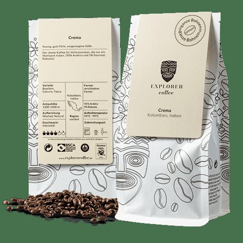 Explorer Coffee Crema aus Kolumbien, Indien, 95% Arabica und 5% Gourment Robusta, nussig, gute Fülle, ausgewogene Süsse