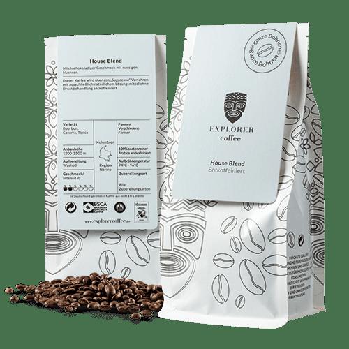 Explorer Coffee House Blend sortenreiner Arabica Kaffee entcoffeiniert, aus Narino, milchschokoladiger Geschmack mit nussigen Nuancen