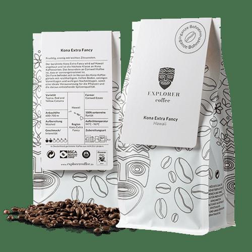 Explorer Coffee ona Extra Fancy sortenreiner Arabica Kaffee aus Hawaii, Cornwall Estate, fruchtig, cremig mit leichten Zitrusnoten