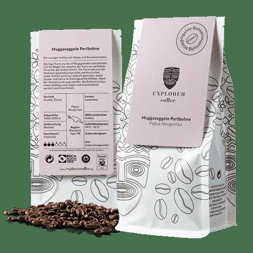 Explorer Coffee Muggaseggele, sortenreiner Arabica Kaffee aus Papua-Neuguina, Carpenters Estate, ein nussiger Kaffee mit Kakao und Brombeernoten